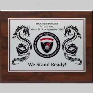 wooden plaque awards for military service by APS in Des Moines