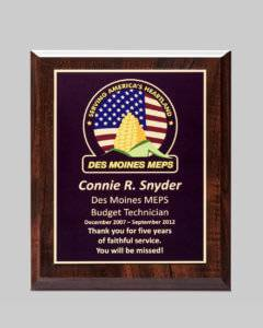 Design template for custom plaque award for Des Moines MEPS created by APS
