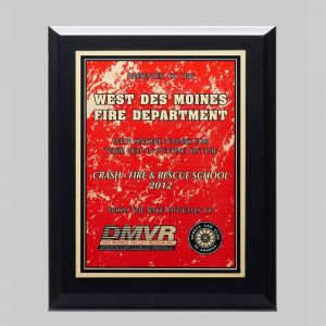 custom plaque award for west des moines fire department by APS in Iowa