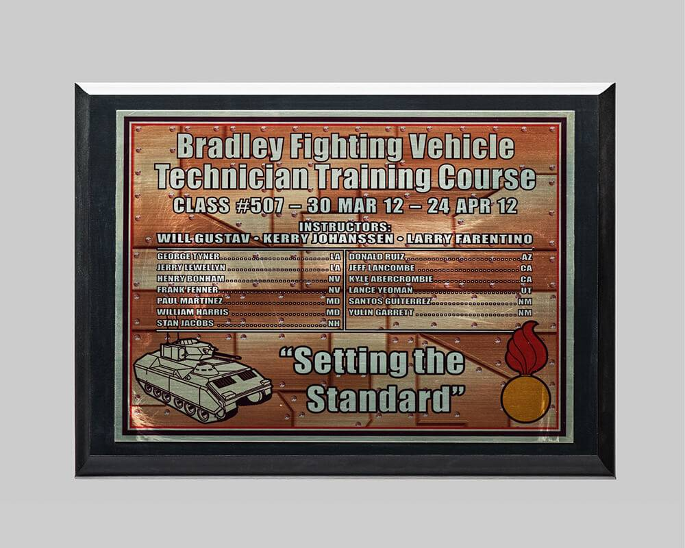 plaque award for military training by APS in Iowa