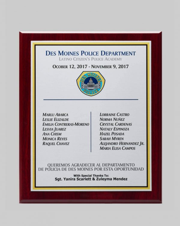 Latino citizens police academy award for des moines police created by APS