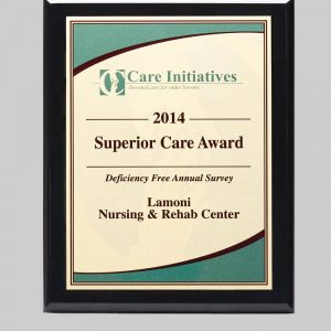 Custom design plaque for lamoni nursing & rehab center by APS