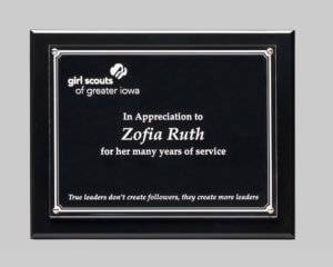 custom plaque design by APS in Iowa for Girl Scouts of Greater Iowa