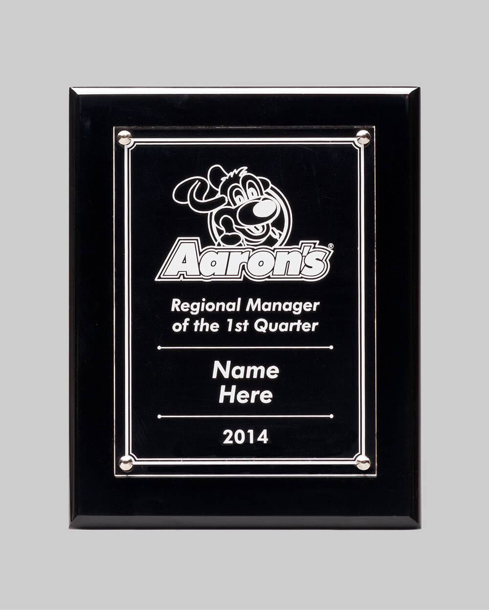 regional manager award plaque by APS for Aaron's
