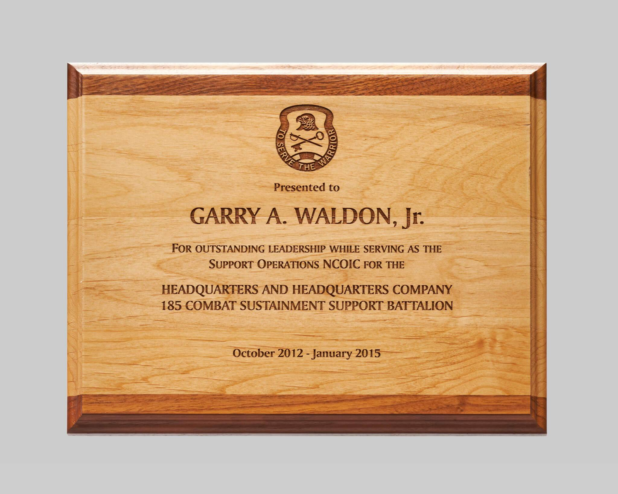custom military wooden plaques available from Awards Program Services in Iowa