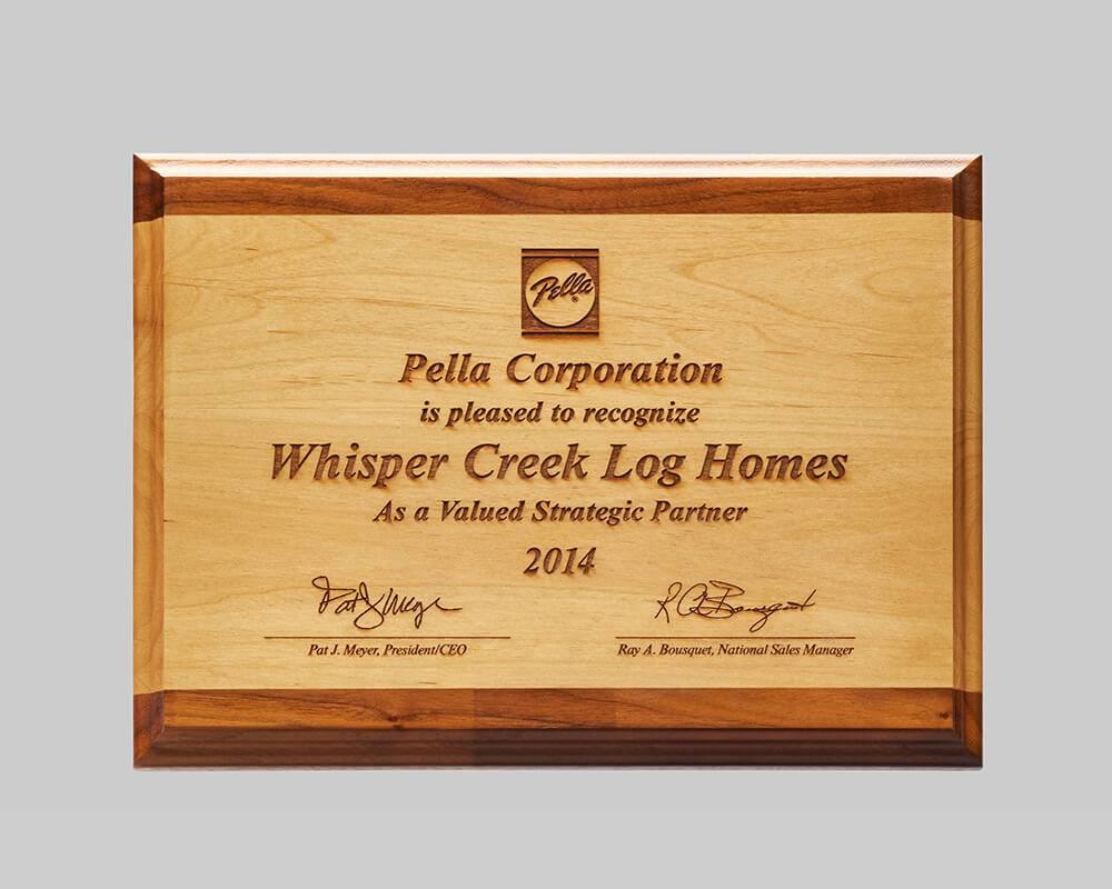 alder wooden plaque award for Pella created by Awards Program Services