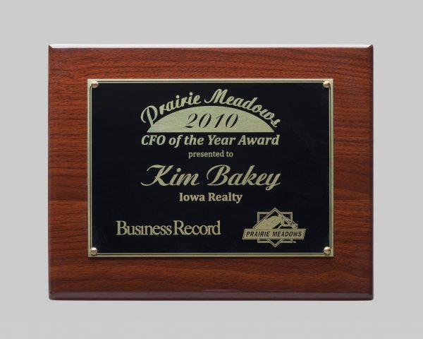 custom walnut plaque trophy for prairie meadows in Iowa