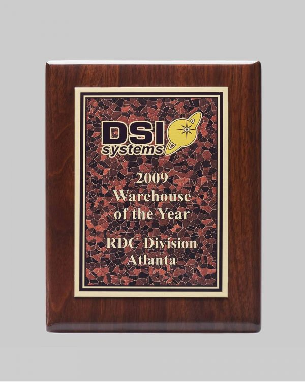walnut plaque award for DSI systems in Atlanta