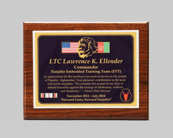 custom plaque award for military service created by APS in Iowa