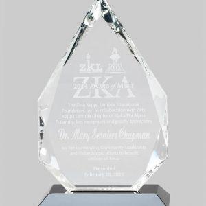 Crystal gem award in gray.