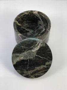 engraved black marble round box with lid