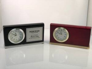 Desk Clock Plaque options at APS Awards.
