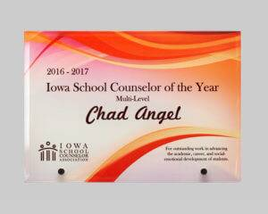 Plaque design by APS in Iowa for education award