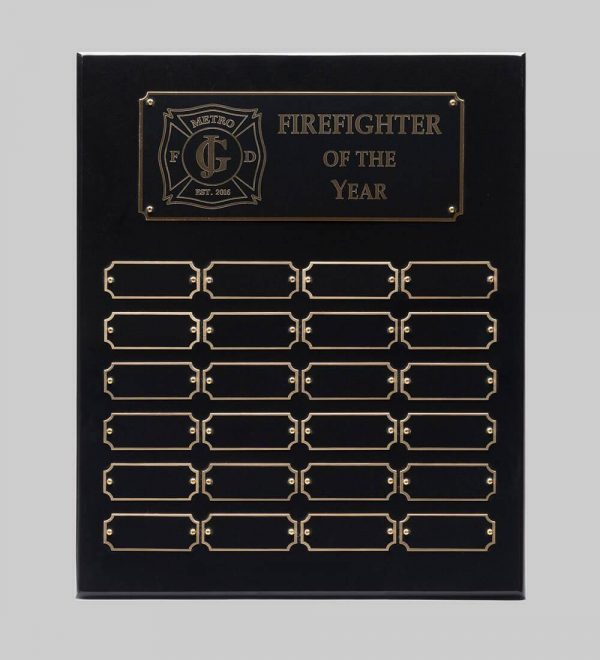 A perpetual plaque with a flat black and black piano finish.