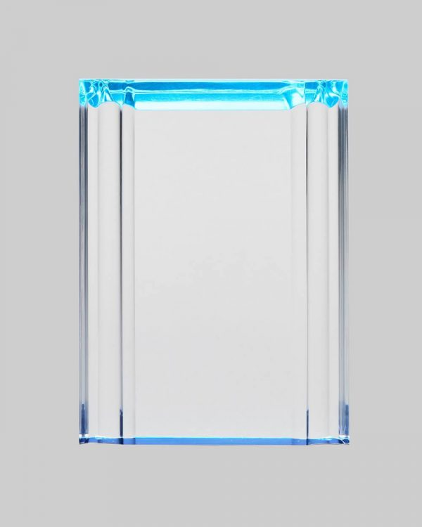 Beveled acrylic plaque in blue.