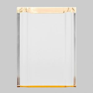 Beveled gold acrylic plaque.