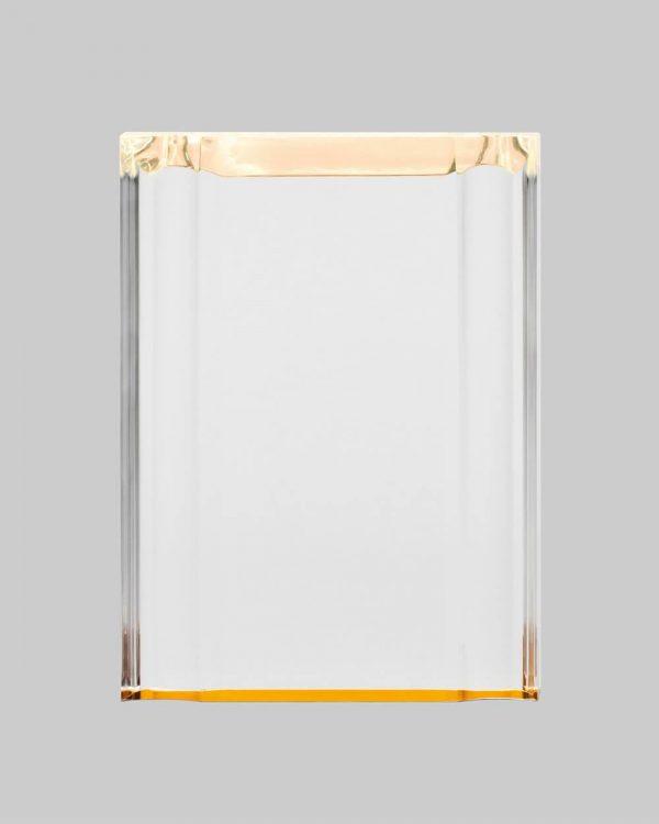 Beveled gold acrylic plaque.