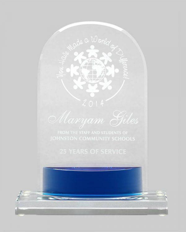 Crystal keystone award in blue.