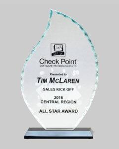 Glass award in a flame shape.