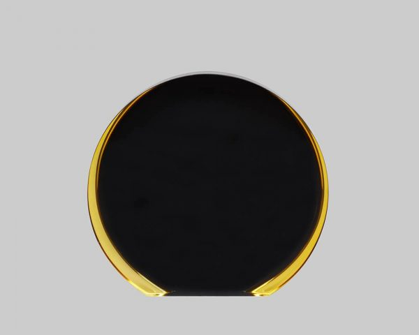 Acrylic Circle Award in Black and Gold