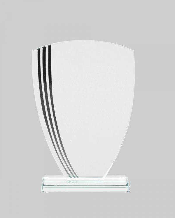 Glass w/ Lines Shield Award in Black