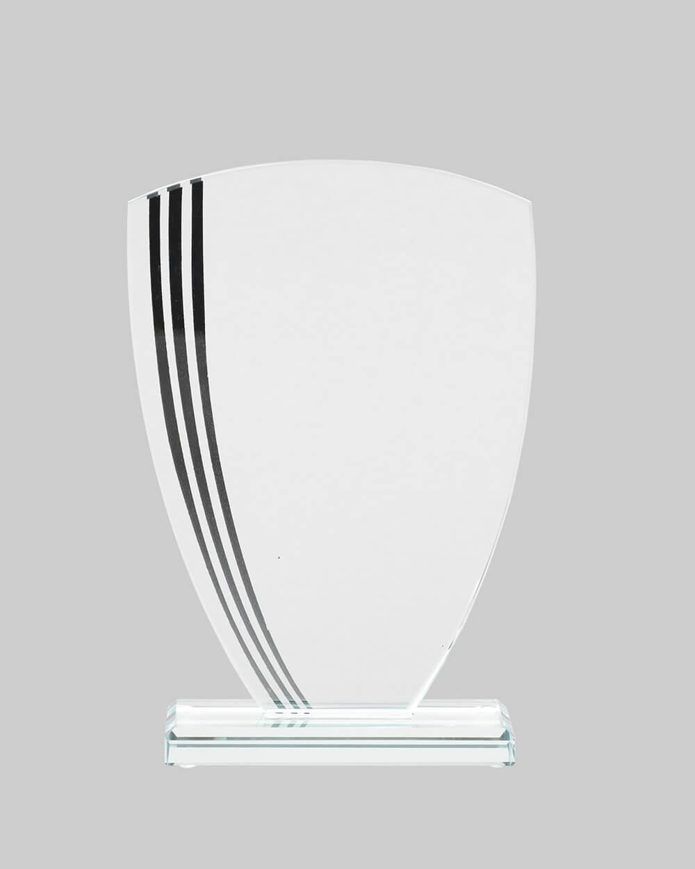 Glass w/ Lines Shield Award in Black