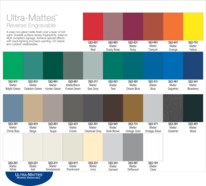 Color options for exterior ultra-matte signs.