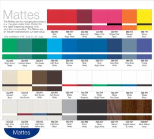 Matte label color options.