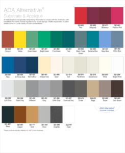 Color options for ADA raised text on signage.