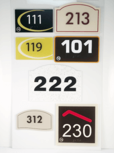 Examples of exterior signage available at APS.