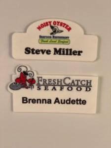 Various flex name badge examples.