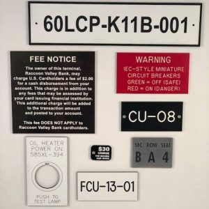 Various types of signage available for customization.