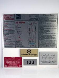 Various hotel signage options available, from emergency procedure signs to no smoking signs.