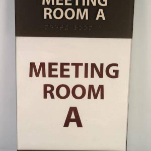 "Hotel room signage that says ""Meeting Room A"""