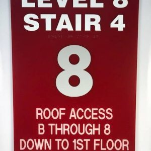 An example of a sign in a stairwell available through APS.