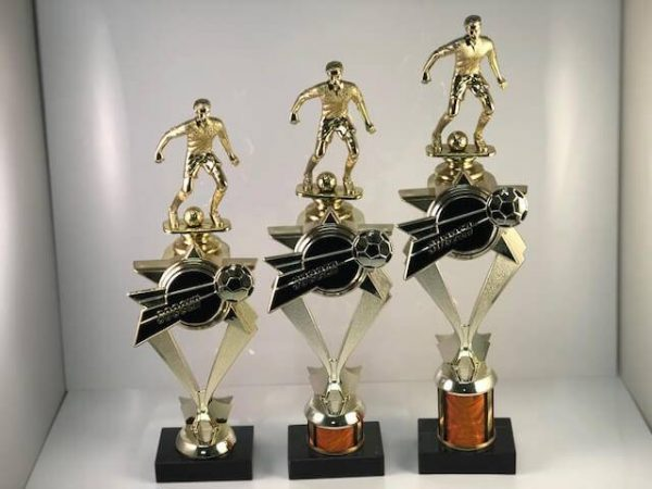 Threee different sizes of soccer trophies available.
