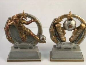 Two options for soccer trophies in copper and aluminum.